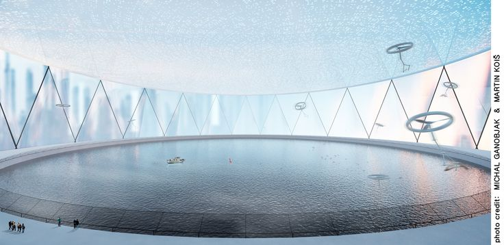 Fish breeding pool serves as a stabilizing element. Fluctations imitates waves.