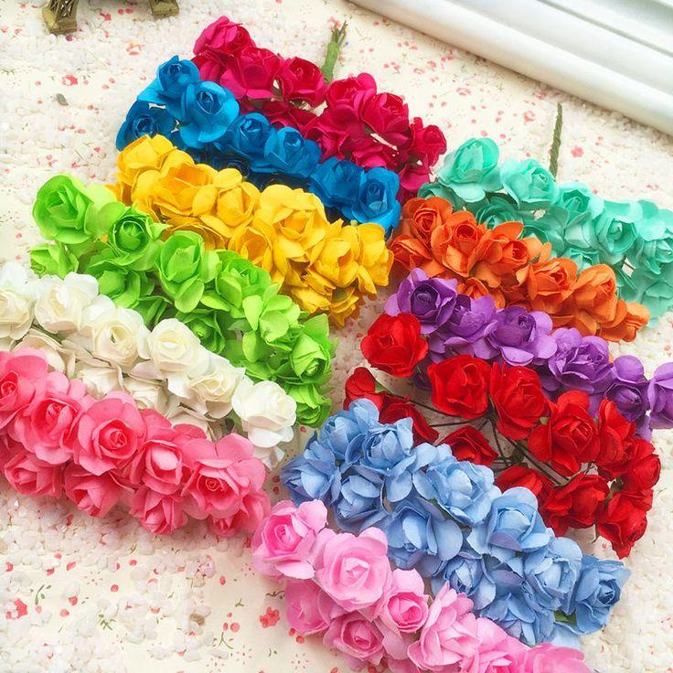 144 UNIDS una flores artificiales mini flores de papel/caja de regalo de boda invitaciones/decoraciones de la Navidad envío gratis