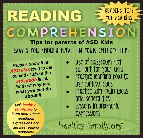 Get tips on how to help your ASD child overcome his or her reading comprehension problems.