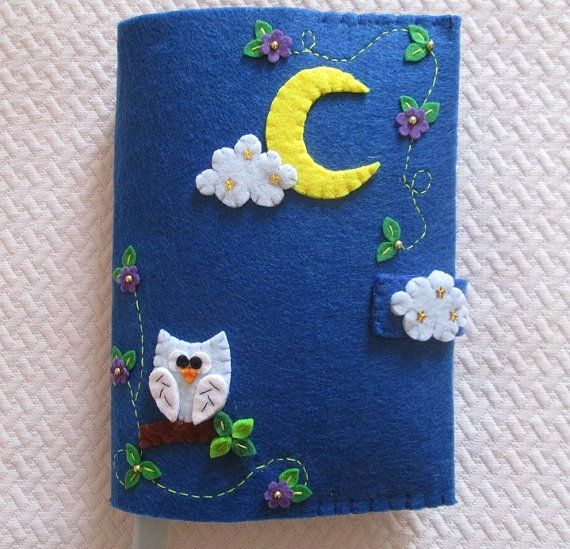 Felt Cover for books with owl moon flowers and от TinyFeltHeart