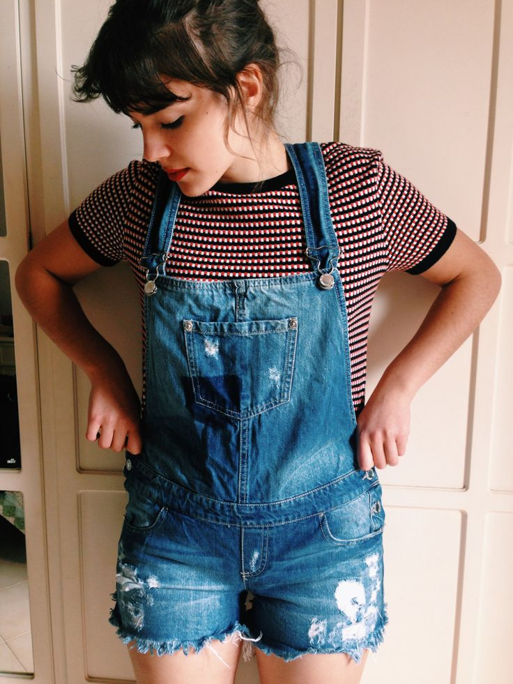 Hot fashion salopette dungaree jeans denim dark wash vintage jumpsuit 90s buttoned shorts tuta pantaloncino casual by Madeleinette on Etsy