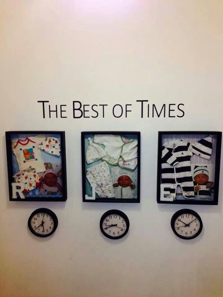 Baby Shadow Box ideas! Hospital picture and outfit along with a clock of the time they were born!