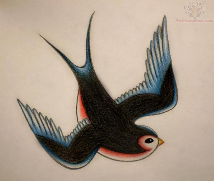 Old School Swallow Tattoo Design -- one on each side of upper chest?