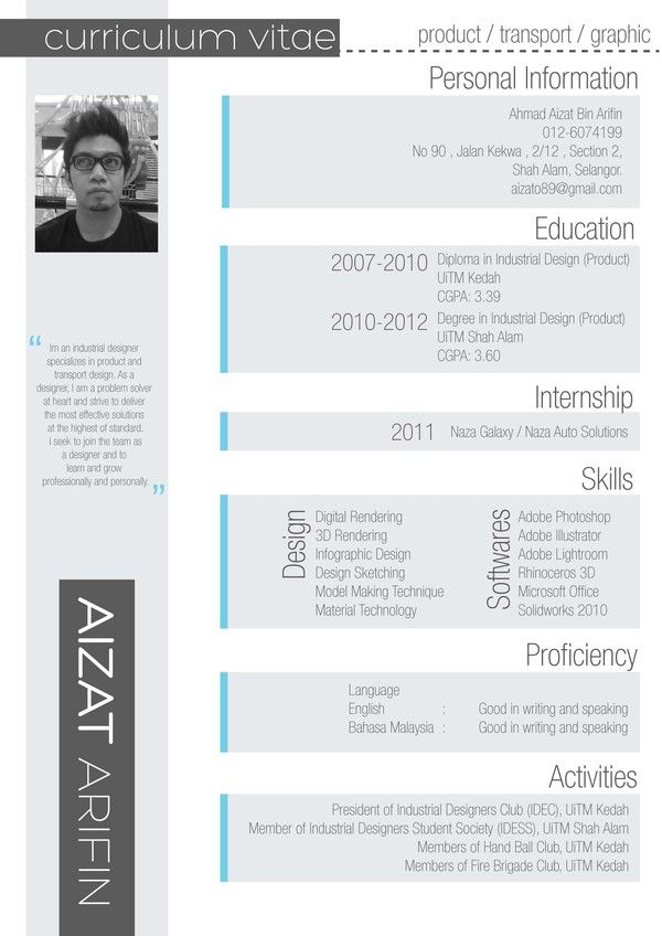 Curriculum Vitae by Aizat Arifin via Behance