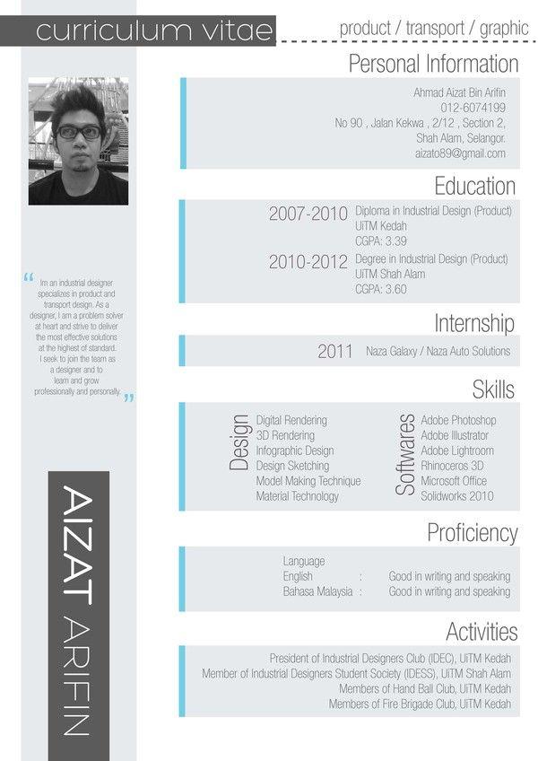 Curriculum Vitae by Aizat Arifin, via Behance