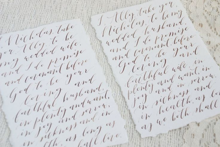 Wedding Vows Organic Calligraphy Deckled Edges   3 Affordable Wedding Calligraphy Ideas   Bon Paper House