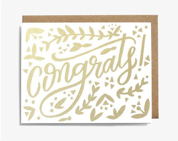 Congrats! Metallic Gold Congratulations Screen Printed Folding Card