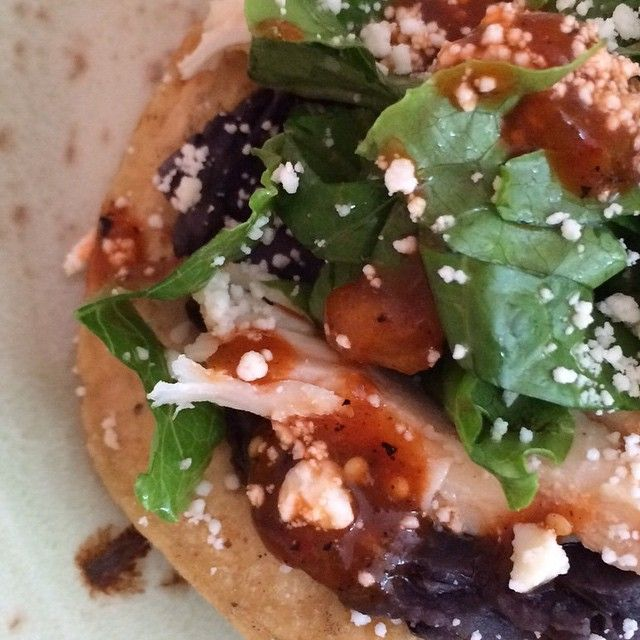 EVERY DAY in December I'm posting a quick Twitter-friendly recipe  The following is a recipe 4 Black Bean-Chicken Tostadas w salsa & tangy romaine.  A delicious and easy QUICK MEAL for a busy month!  Saute onion+garlic til soft;mash w black bns.Toss slicd romaine w 2T cider vin+1T oil+salt. Top tostadas w beans/chicken/crema/salsa/salad/chs