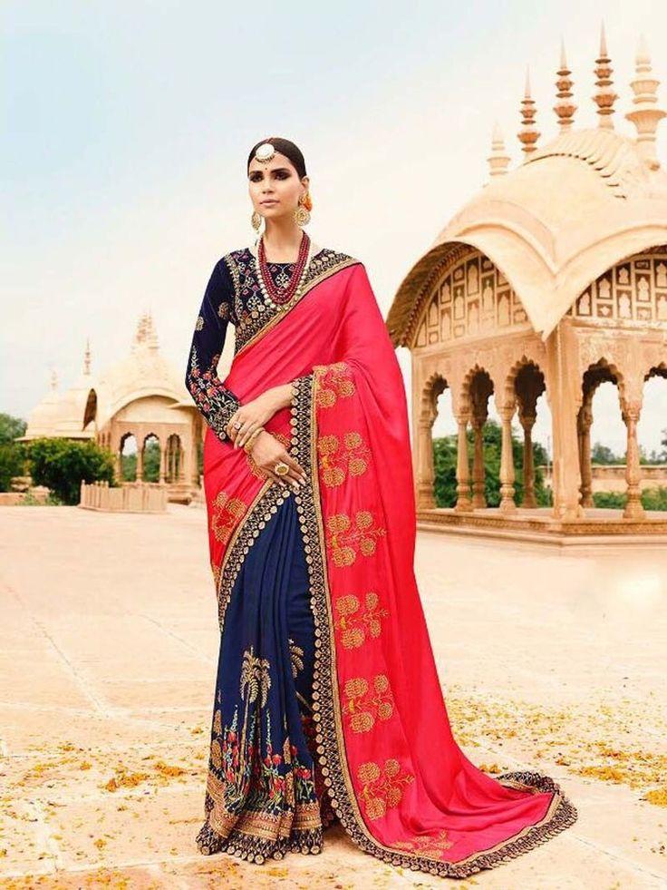 Indian Bollywood Silk Saree Bollywood New Designer Sari With Blouse Free Shiping #Shoppingover #Saree