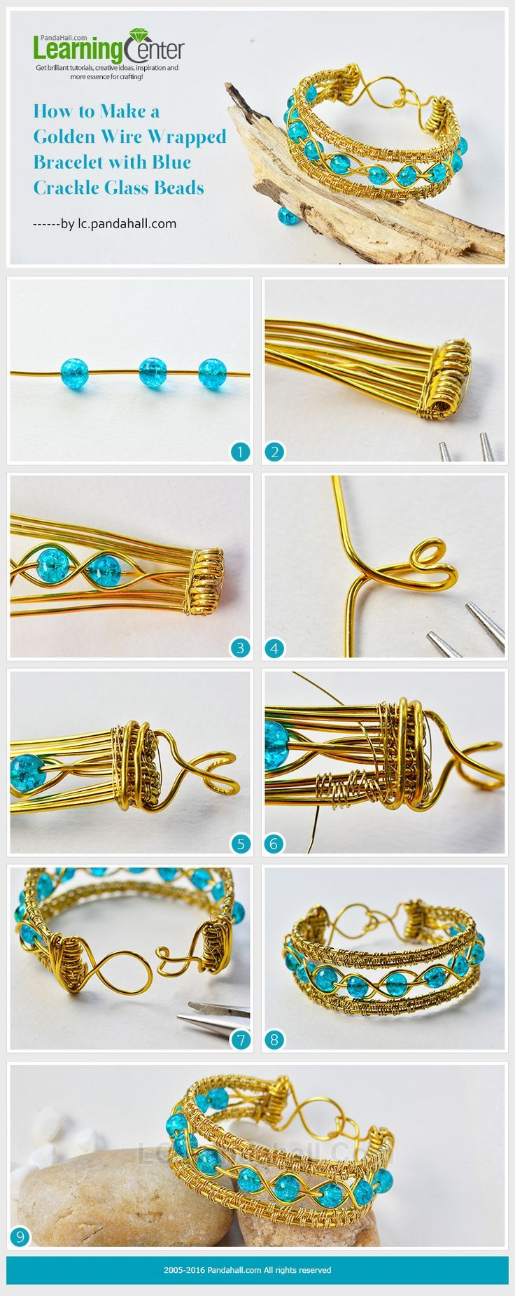 Tutorial on How to Make a Golden Wire Wrapped Bracelet with Blue Crackle Glass B...