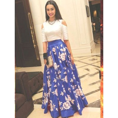 Shraddha Kapoor Blue Bhagalpuri Silk