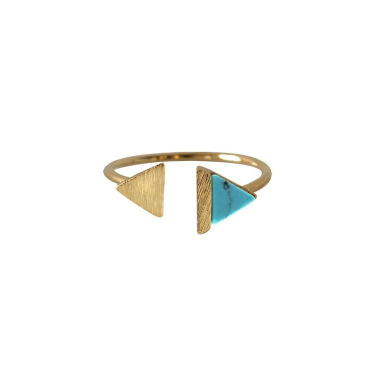 Double-Tri Split Gold & Turquoise Ring