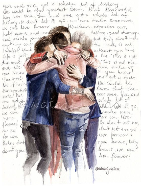 Watercolor Portrait of One Direction with History by WaterLyrics