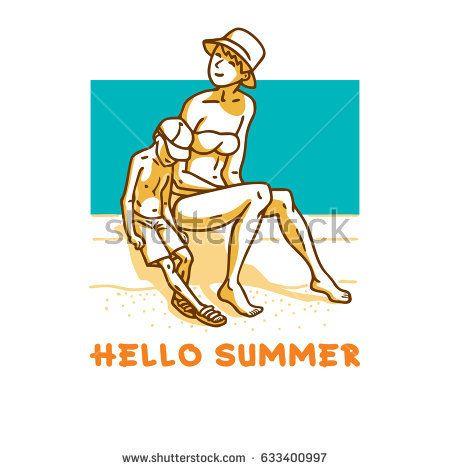 Woman in bikini and boy with cap sitting on sandy beach on sunny day. Cartoon vector illustration.