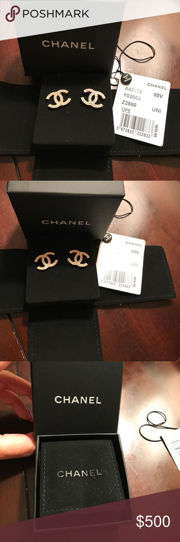 BNWT Authentic Chanel Gold Crystal Earrings Timeless Authentic Chanel logo earrings. New in box with tags. Beautiful classic gold/crystal earrings! These are fashionable now and forever. Hard to find and for a good reason..... Bought last month at Chanel South Coast Plaza. CHANEL Jewelry Earrings