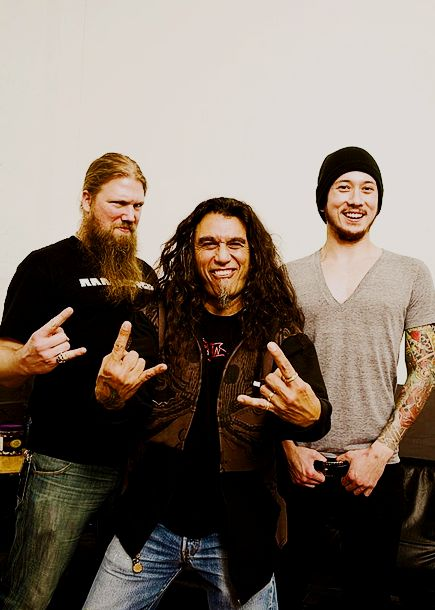 Johan Hegg ( Amon Amarth), Tom Araya ( Slayer ) e Matt Heafy ( Trivium )