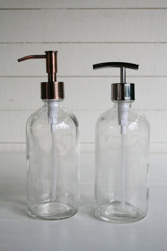 Market Glass Soap Dispensers Pair by Rail19 on Etsy $40/pair - 16 oz.
