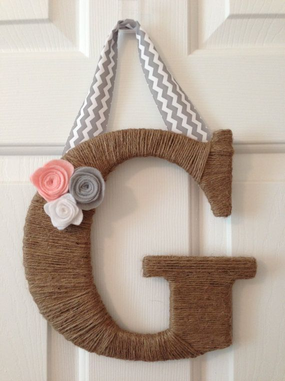 Jute Wrapped Letter G felt flowers and ribbon. Baby pink, gray and white felt flowers and a gray and white chevron ribbon to hang it with. on Etsy, $24.00