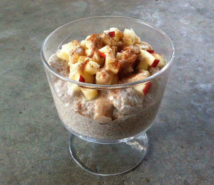 [ Recipe: Caramel Apple Chia Pudding ] Made with: chia seeds, almond milk, almond butter, lucuma powder, vanilla extract, powdered stevia, sea salt. Use optional toppings: cinnamon, apple, etc. ~ from Almonds and Avocados