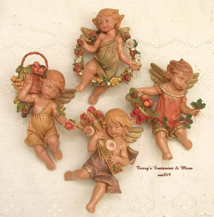"FONTANINI DEPOSE ITALY 4.5"" FOUR SEASONS NATIVITY VILLAGE CHERUBS #55106 NEW #Fontanini"