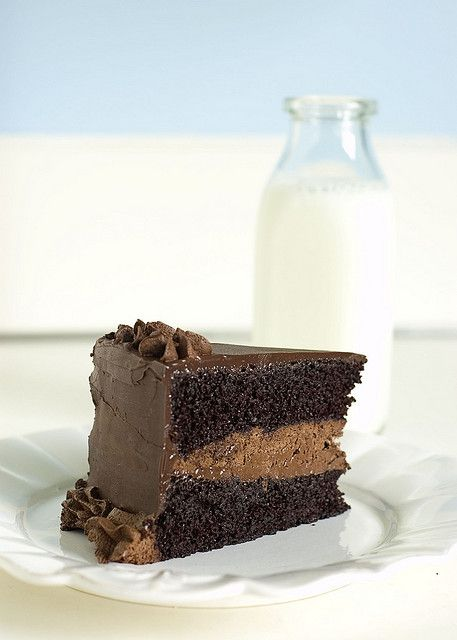 this is by far the best chocolate cake I have EVER had. worth EVERY calorie. :)  decadent chocolate cake - slice with milk by jayme michelle, via Flickr
