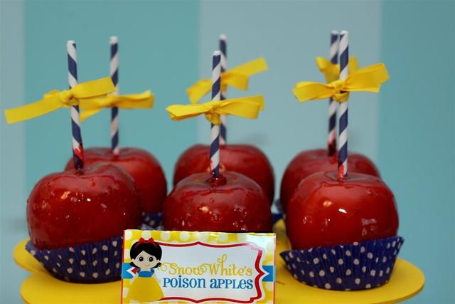 Snow White's poison apples at a Princess party!  See more party ideas at CatchMyParty.com!  #partyideas #princess