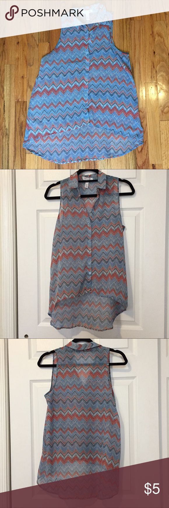 Chevron Blue and Coral Sleeveless Tank EUC, high-low button up chevron top Ambiance Apparel Tops Button Down Shirts