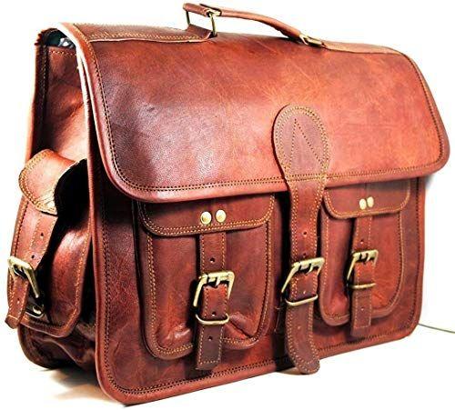 """Vintage Leather Satchel Messenger Bag 18/"""" Inch Laptop Briefcase Shoulder Bags"""