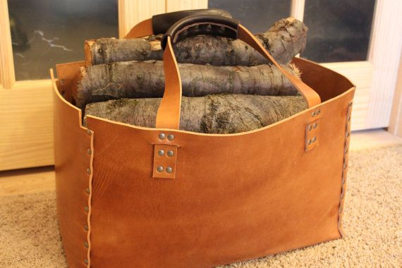 Handmade Leather Log Carrier tote bag Heavy Duty