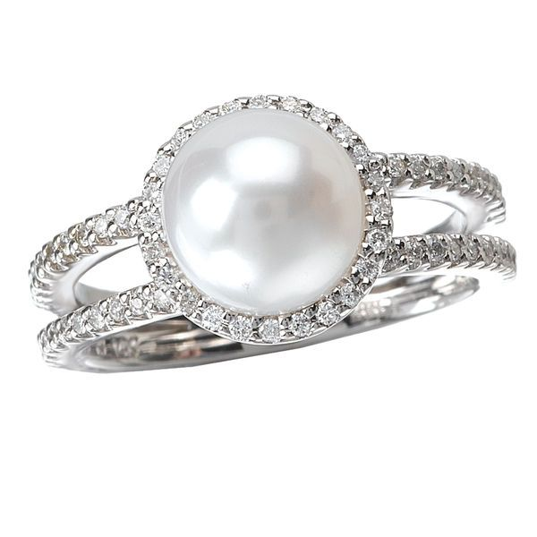 Elegance Collection 14K White Gold Cultured White Pearl and Diamond Halo Double Shank Ring