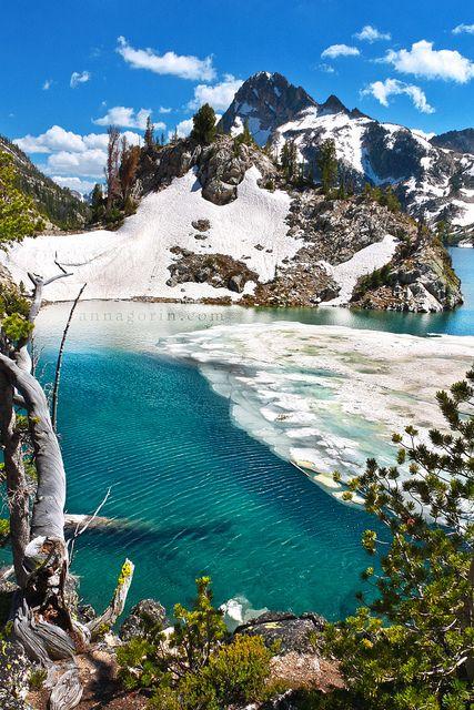 Icy waters at Sawtooth Lake, Idaho - 11 miles 1700 feet elevation gain.