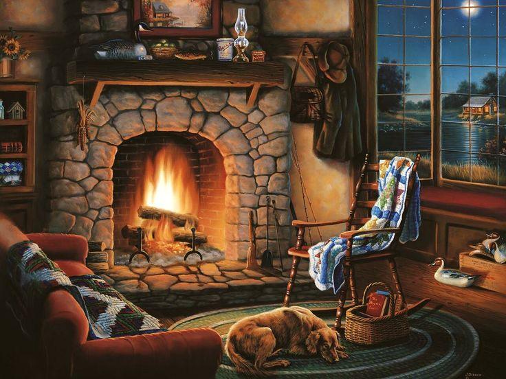 таким картинки уютный дом с камином да