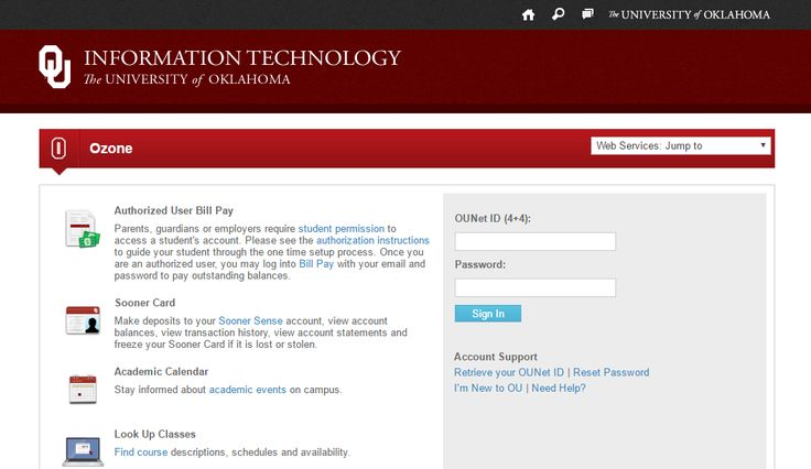OU OZONE or the University of Oklahoma offers its students the complete control over their school's oZone portal. The university is located in Norman, Oklahoma offering professional degrees to over 30824 students.