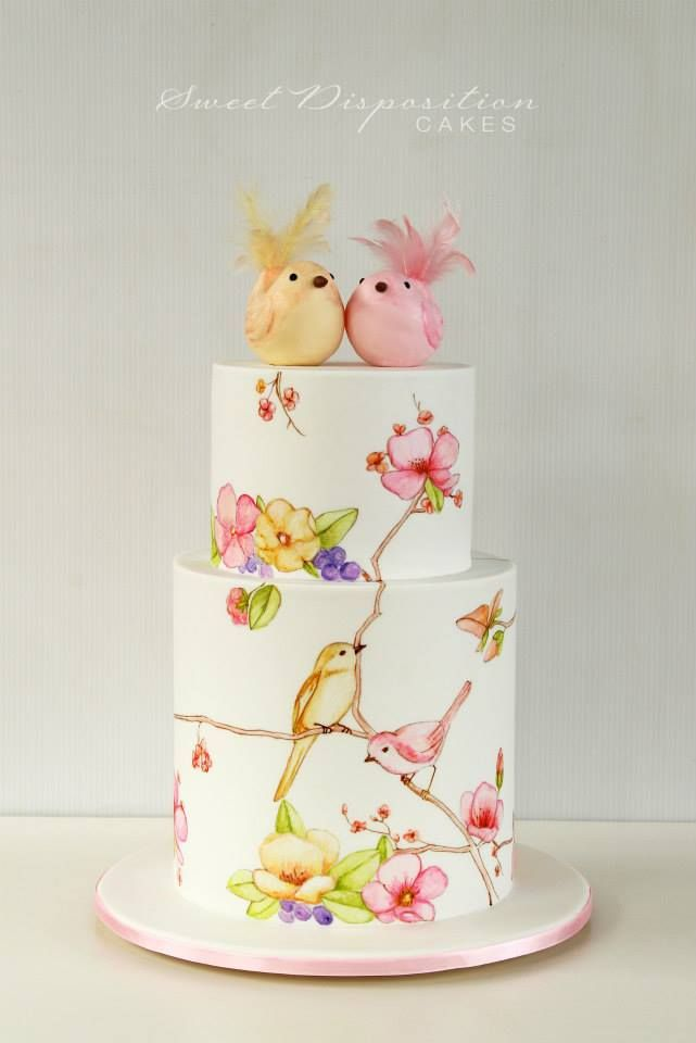 Gorgeous Hand Painted Wedding Cake with Birds and Flowers / by Sweet Disposition Cakes
