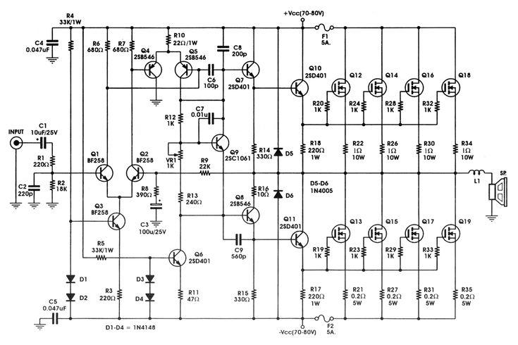 400W  High Power Mosfet Amplifier  Amp Circuit Diagram