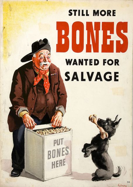 Bones were made into glue for airplane construction as well as being used in munitions during WWII.