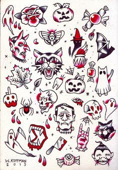 Traditional Halloween Tattoo Flash This ones for the sweet tooths