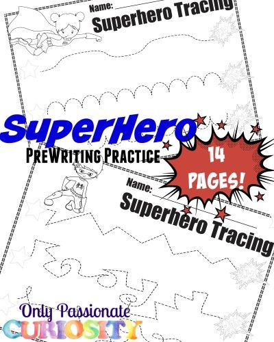 Super Hero Pre-Writing Pack - Free preschool printables