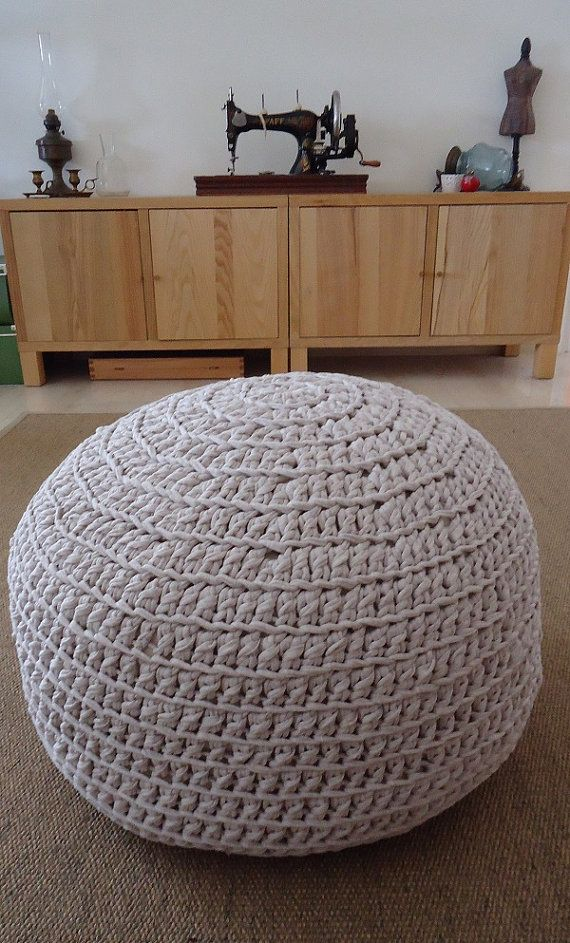 Crochet Pouf 100%Cotton Floor Cushion Handknitted by YellowByZoe