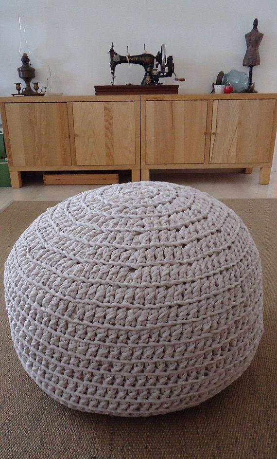 Crochet Pouf 100%Cotton Floor Cushion Handknitted by YellowByZoe