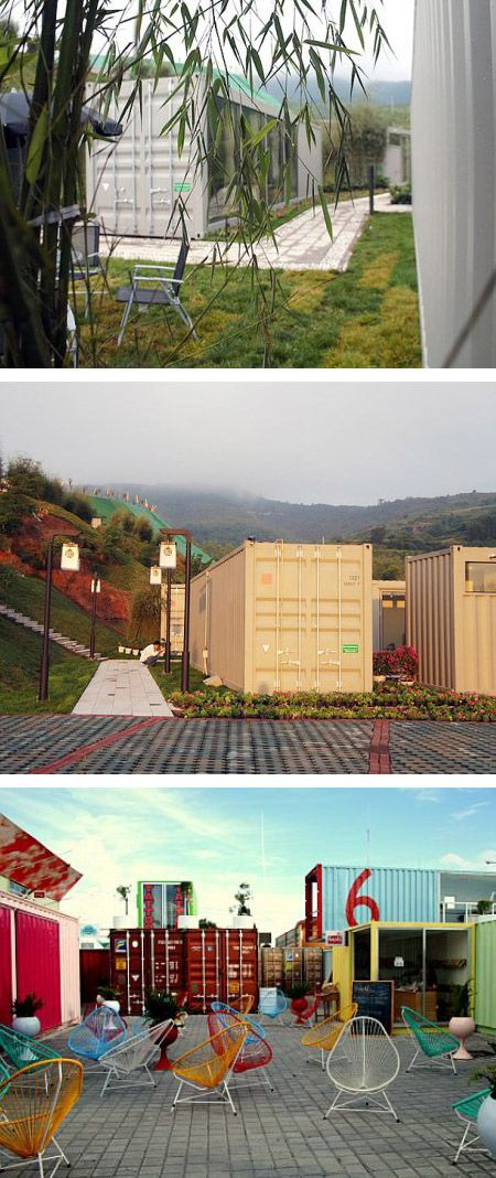 Hotels Made With Weird Things  The Tonghe Shanzi Landscape Design company has built their incredible five star Xiang Xiang Xiang Pray House hotel entirely out of shipping containers!