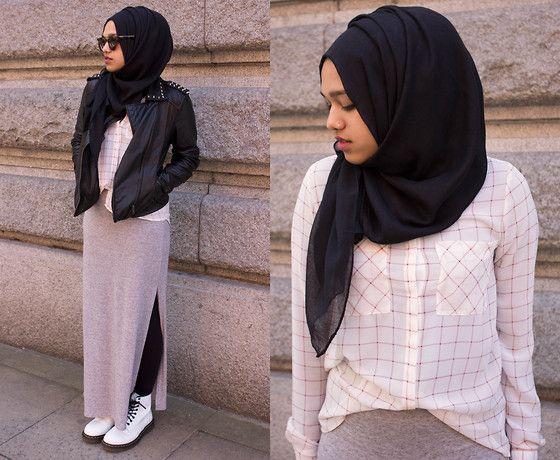 <3 Primark Shades, Asos Spiked Leather Jacket, New Look Grey Split Side Maxi Skirt, H Black Leggings, Dr. Martens White Docs, Al Madina Hijabs Black Scarf, Forever 21 Burgundy Outline Shirt
