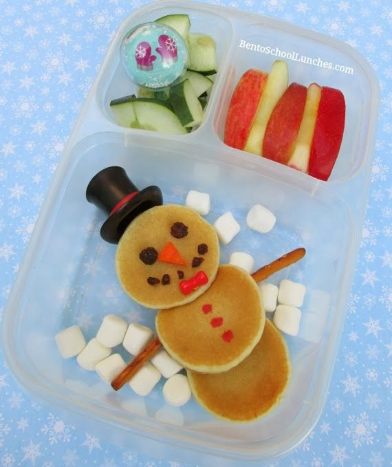 Snowman Pancakes Breakfast packed in @EasyLunchboxes for Lunch