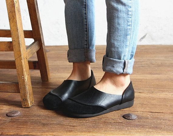 Black Handmade ShoesOxford Women Shoes Flat Shoes Retro