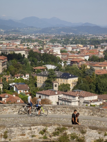View of Lower Town from Upper Town Wall, Bergamo, Lombardy, Italy