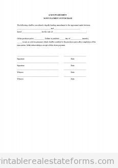 Free Acknowledgment - Down Payment on Purchase Printable Real Estate Forms