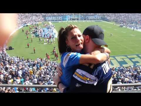 Greatest Proposal Reaction at the Chargers Game - her face and reaction is just priceless!