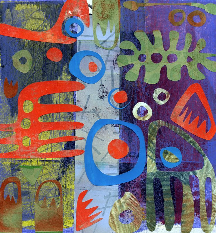 """Biodiverse - 12""""x12"""" collage on paper           Cuts - 8""""x8"""" collage on paper"""