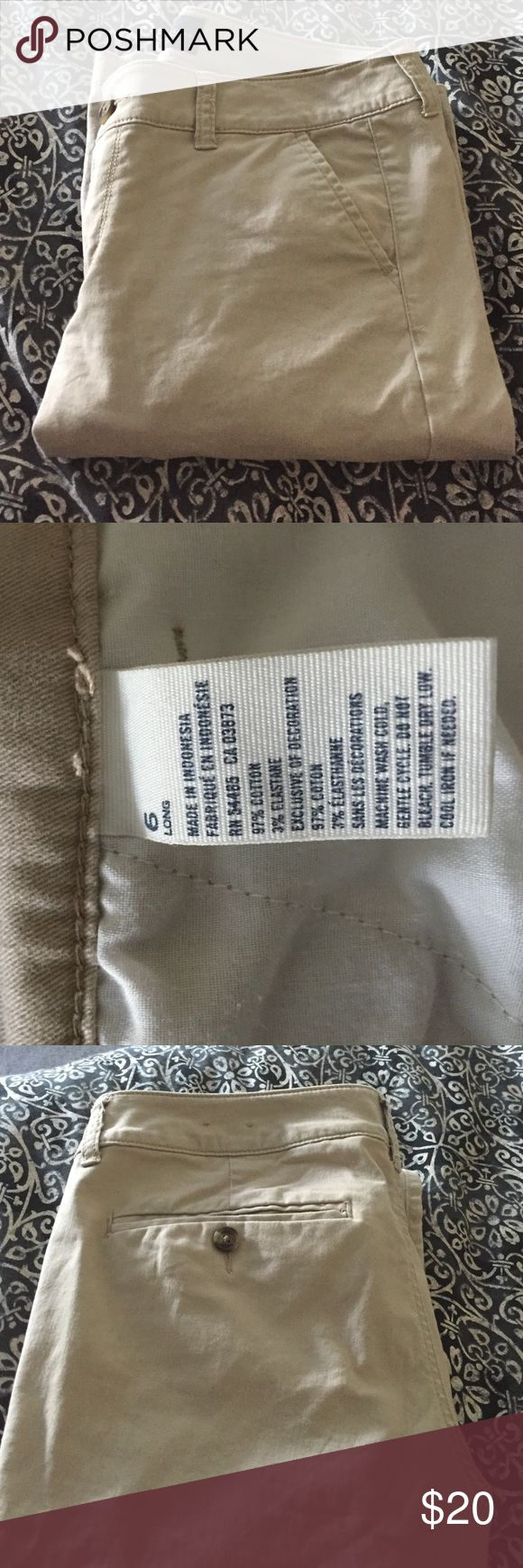 American Eagle size 6 long khaki pants These are new without tags size 6 long. khaki color American Eagle pants American Eagle Outfitters Pants Trousers