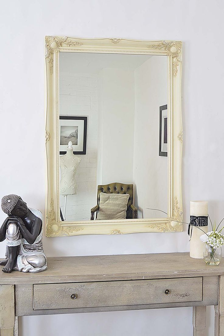 Tesco direct: Large Antique Style Ivory Rectangle Wall Mounted Wood Mirror X